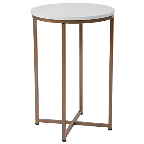 Laminate Occasional End Table - Flash Furniture Hampstead Collection White End Table with Matte Gold Frame - NAN-JH-1787ET-GG
