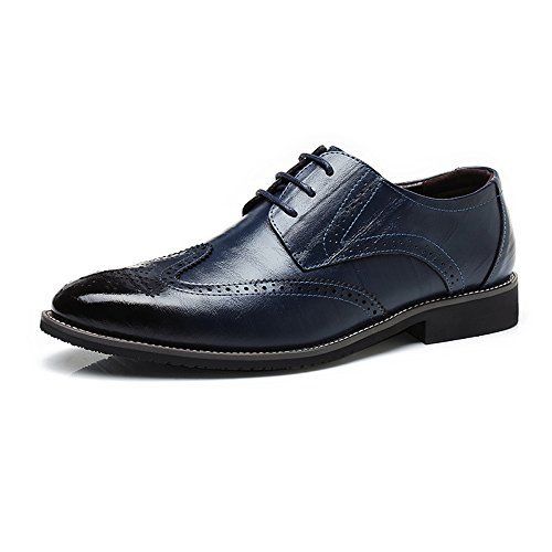 ZX Uomo Business in Brogue Blu up Scarpe Low Top Hollow Wingtip Scarpe Oxford Traspirante Carving Vera Pelle d'Affari Foderato Lace comode da frrZqE