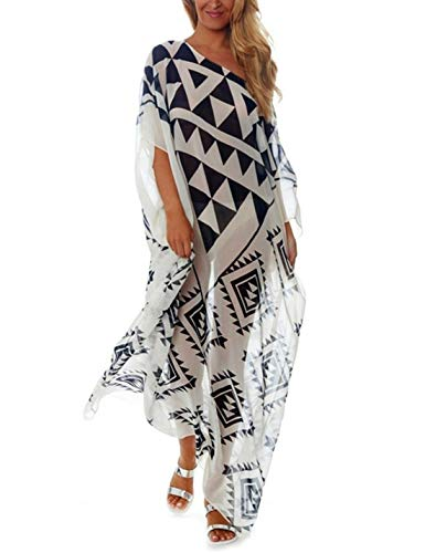 Ailunsnika Women Chiffon Geometric Print Bikini Cover Up Batwing Sleeve Beach Dress Plus Size Swimsuit Cover Ups