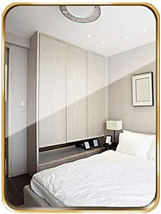 大型ウォールミラー、浴室化粧鏡ゴールドメタルフレーム長方形ガラスパネル、玄関用洗面化粧台、リビングルーム、リビングルーム