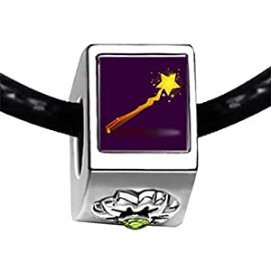 Chicforest Silver Plated angel star wand Photo Peridot Crystal August Birthstone Flower Charm Beads Fits Pandora Charm Bracelet