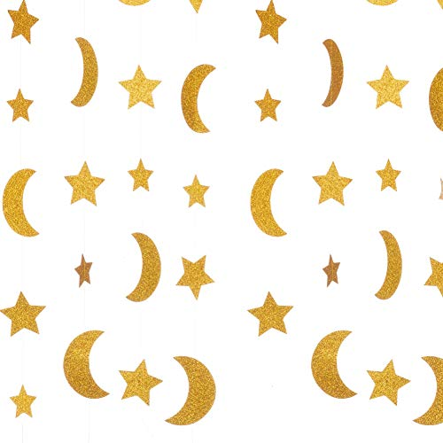 Decorations Stars Moon (WEVEN Gold Glitter Moon Star Paper Garland, Twinkle Twinkle Little Star and Moon Banner Hanging Party Decorations for Wedding, Thanksgiving, Baby Shower, Birthday Party, 20 Feet in Total)