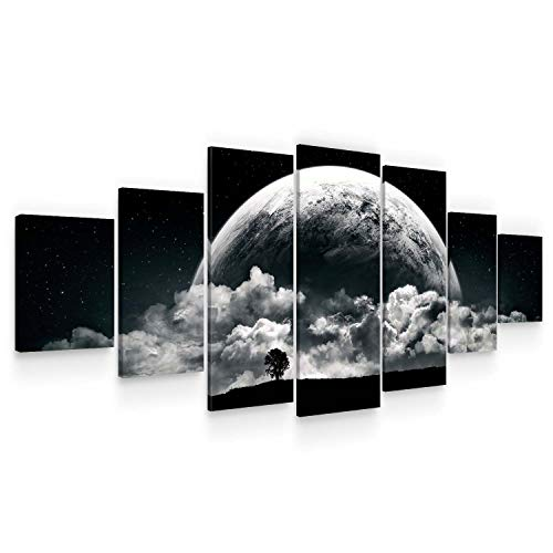 (STARTONIGHT Huge Canvas Wall Art - Romantic Black and White Moon - Home Decor - Dual View Surprise Artwork Modern Framed Wall Art Set of 7 Panels Total 40