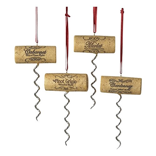 Kurt Adler Set of Four Assorted Corkscrew Christmas Ornaments