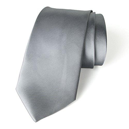 Medium Grey Satin - Spring Notion Men's Solid Color Satin Microfiber Tie, Regular Medium Grey