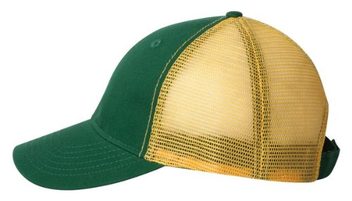 Profile Chino Twill Cap (Authentic Headwear - ''The Duke'' Washed Trucker Cap - AH80 - Adjustable - Dark Green/ Gold)