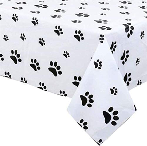 Puppy Themed Birthday Party Decorations -Plastic Table Cover for Arts & Crafts, Paw Patrol Party Supplies Puppy Paw Print Plastic Tablecloth 54 x 108 inches Disposable Table Cover for Dog Themed Party