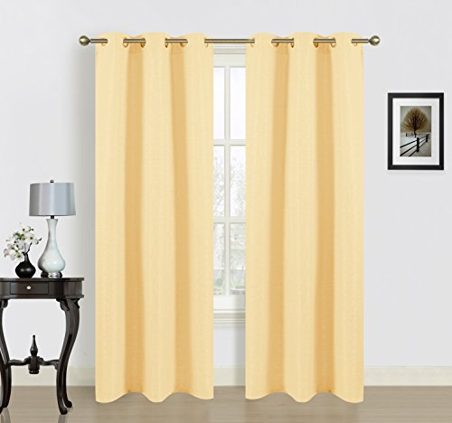 Dainty Home Blended Silk Grommet Window Panel Pair with Cotton, 76x84'', Banana Yellow (Window Curtain Pair 84' Panels)