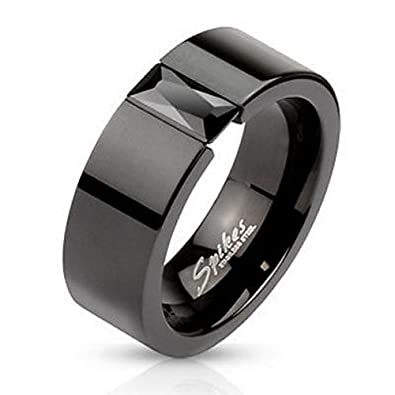 Simulated Black Diamond Onyx Mens Womens His Hers 6mm Wedding Band