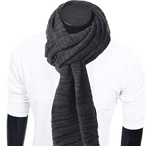 Extra Long Scarf - Mens Thick Knitted Plaid Long Winter Scarf Shawl E5031 (E5001-Dark Grey)