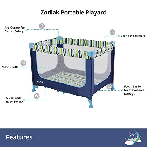 41CKOLEebzL - Dream On Me, Zodiak Portable Playard, Navy