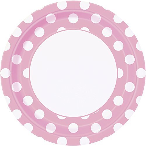 Light Pink Polka Paper Plates