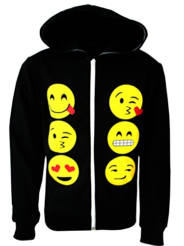 KIDS EMOJI EMOTICONS SMILEY FACES LONG SLEEVE HOODIES TOPS GIRLS AGE NEW,11-12 Years,Black -