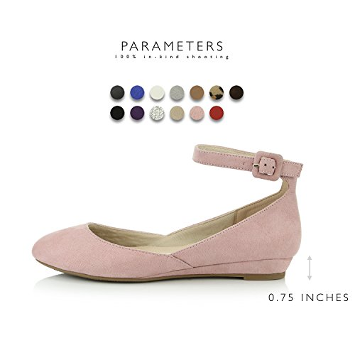Buckle Adjustable Women's Flat Wedge Toe Fashion Low Mauve Pointed Ankle Strap Suede Shoes DailyShoes XTRw4qX