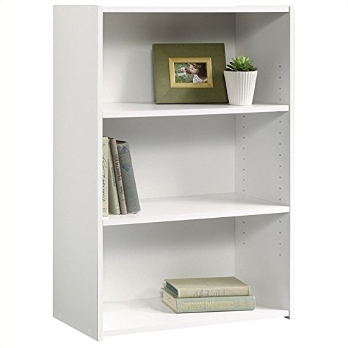 Sauder Beginnings 3-Shelf Bookcase, Soft White finish (White Bookcase Bookshelf)