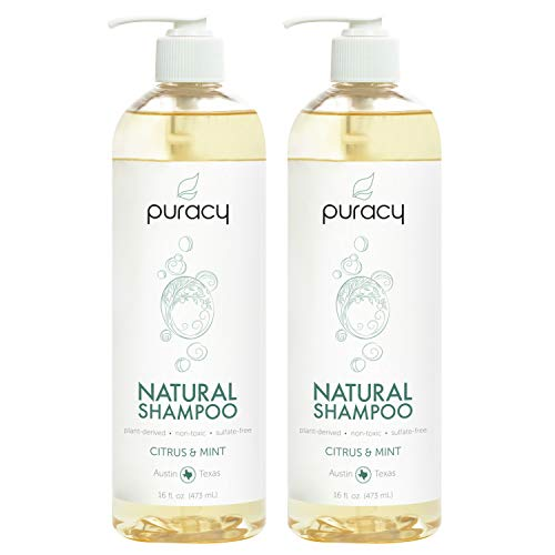 Puracy Natural Daily Shampoo, New Sulfate-Free Formula, All Hair Types, 16 Ounce (2-Pack) ()