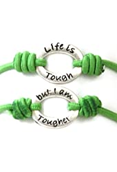 "TOC Bandz 'Life is Tough..But I Am Tougher Green 6"" Stretch Bracelet"