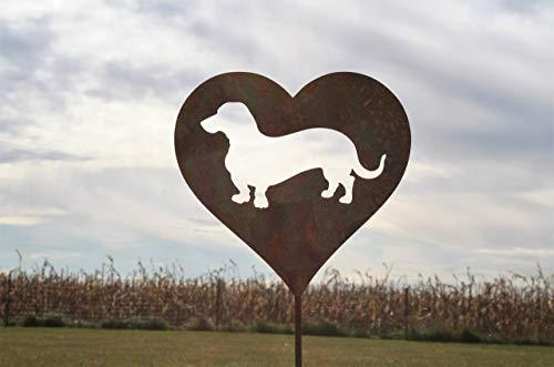 Wiener Dog Dachshund Heart Garden Stake Pet Memorial