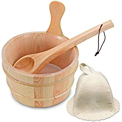 Wooden Sauna Bucket with Ladle and Sauna Hat- Handmade 4 Liter (1 Gallon) Wooden Sauna Bucket with Wooden Ladle and Free Size Wool Sauna Hat