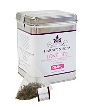 Coconut Strawberry Tea (Harney & Sons Love Life Tea Tin - Green Tea with Strawberry, Coconut, Vanilla and Puffed Rice - Supporting GMHC - 1.44 Grams, 20 Sachets)