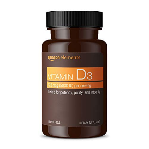 Amazon Elements Vitamin D3, 5000 IU, 180 Softgels, 6 month supply (Packaging may vary), Supports Strong Bones and Immune…