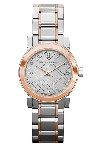 SALE! Authentic Burberry The City Precious LUXURY DIAMONDS Rose Gold Dual Tone Watch Womens Girls Textured Dial BU9214