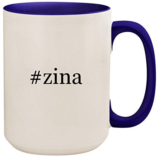 #zina - 15oz Ceramic Colored Inside and Handle Coffee Mug Cup, Deep Purple ()