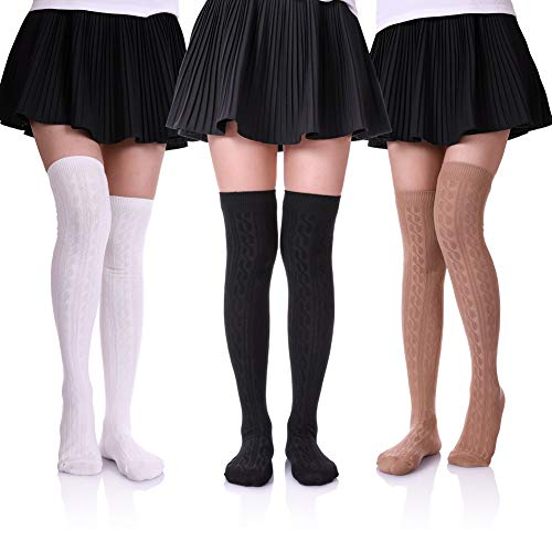 HERHILLY 3 Pack Womens Girls Thigh High Cotton Knee High Stocking Knit Boot Socks (3 Pack Black/White/Khaki)