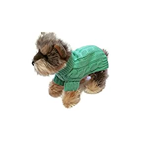 Le Petit Chien Small Dog Puppy Sweater (X-Small, Heather Green)