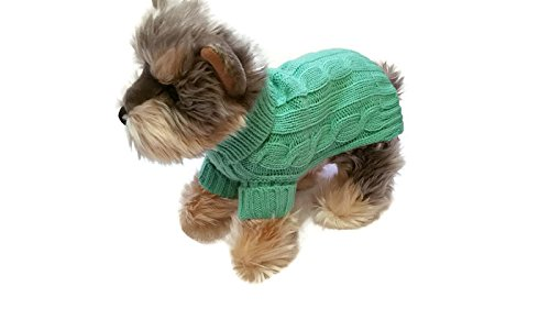 Le Petit Chien Small Dog Puppy Clothes Cable Knit Warm Cute Heather Green Pet Sweater. Winter apparel (X-Small)