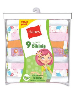 Hanes Girls No Ride Up Cotton TAGLESS/® Bikinis 9-Pack
