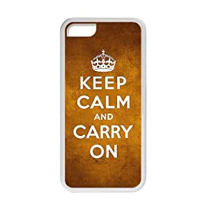 """Keep Clam Series """"""""Keep Clam and Carry On"""""""" Funny Special Custom Cover Case For Iphone 5C(White) with Best Silicon Rubber"""