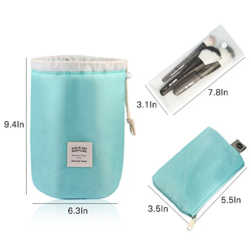 MAANGE Travel Makeup Bags 2PCs Waterproof Makeup Bag Cosmetic Bag Organizer Bathroom Storage Carry Case Drawstring Dresser Pouch with Mini Pouch & Clear PVC Makeup Brush Bag (Light Blue & Pink) by MAANGE (Image #7)