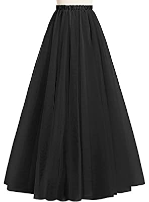 Duraplast Women's Long Tutu Skirt Floor Length Lightweight Skirt Elastic Tulle