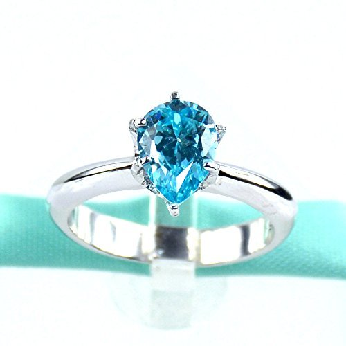 - Sky Blue Pearl Cubic Zirconia, Sterling Silver, Platinum Plated, Comfort Fit, Promise Ring, Engagement Ring, Daily Rings, 3MM Comfort Fit Band