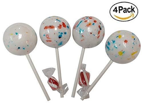 LARGE Psychedelic Jawbreakers Candy on Sticks 2.25 INCH BIG 4 Count- Jawbreaker Lollipops-Hard As A Rock