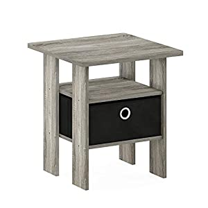 Furinno 11157GYW/BK Andrey End Table Nightstand with Bin Drawer, 1-Pack, French Oak Grey