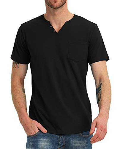 NITAGUT Men's Casual Slim Fit Short Sleeve Pocket T-Shirts Cotton V Neck Tops (L, Black)