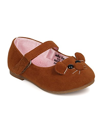 JELLYBEANS Faux Suede Mouse Face Ballerina Flat  FA02 - Tan