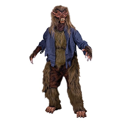 Lone Wolf Mask (Werewolf Lone Wolf Adult Halloween 5 Piece Costume Brown Mask Gloves Chest Legs and Feet)