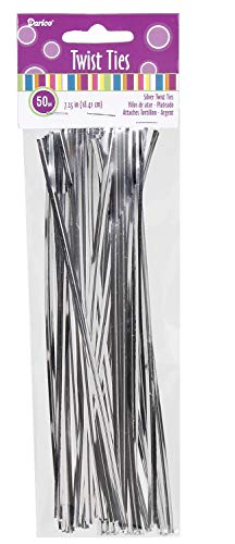 Darice Twist Ties - Silver - 7.25 inches - 50 pieces