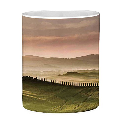 Funny Coffee Mug with Quote Tuscan Decor 11 Ounces Funny Coffee Mug Italian Countryside Road with Trees and Meadows by the Mountains Mediterranean Culture Green Beige