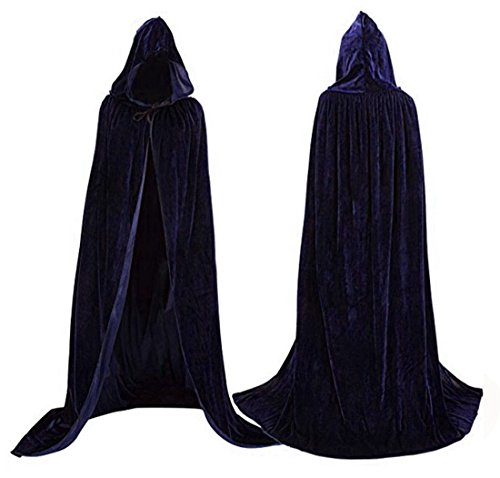 Womens Velvet Hooded Cloak Halloween Costumes Hooded Party Cape Medieval Cosplay Cape (Dark Navy (Witch King Cosplay Costume)