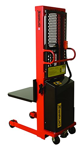 Wesco-Industrial-Products-261088-Fixed-Platform-Model-Power-Stacker-with-Ergonomic-D-Handle-2000-lb-Load-Capacity-60-Lift-Height-27-x-24-Platform-20-Inside-Base-Leg-Span-72-Overall-Height