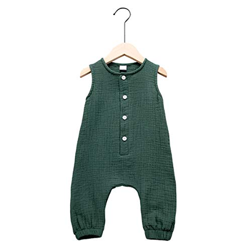 Arleysh Newborn Baby Girl Romper Jumpsuit Cotton Linen Sleeveless Ruffled Bodysuit Infant Summer Clothes Outfits (Green, 6-12 Months)