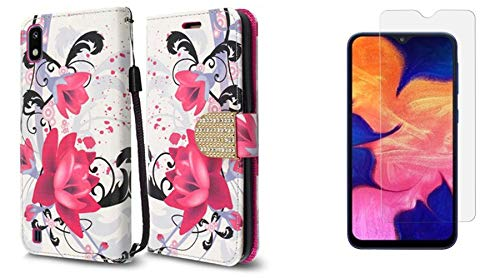 Bemz Bling Wallet Compatible with Samsung Galaxy A10e (2019) Case PU Leather ID Window Card/Money Holder Magnetic Flip Cover (Pink Flower), Tempered Glass Screen Protector and Atom Cloth