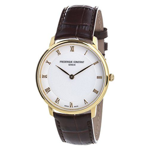 Frederique Constant Women's Slimline 39mm Brown Leather Band Gold Plated Case Quartz Watch FC-200RS5S35