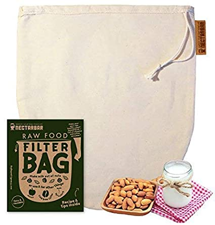 NECTARBAR Eco Bolsa DE Leche Vegetal - Algodón Natural Raw Food Filter Bag - Filtro para Leche de nueces, DE almendras, fermenter Queso Vegano, para ...