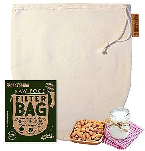NECTARBAR Eco Bolsa DE Leche Vegetal - Algodón Natural Raw Food Filter Bag - Filtro para