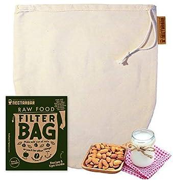 NECTARBAR Sac À Lait VÉGÉTAL Eco RAW Food Filter Bag - Coton Naturel pour  la Fabrication 72a4f88c440